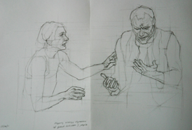 Original pencil drawing of two interacting people, for larger images and further information click on this image.