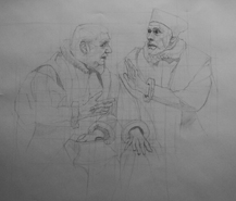 Original pencil drawing of two Tudor's in a moment of misunderstanding, for larger images and further information click on this image.