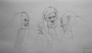Original pencil drawing of three interacting people, for larger images and further information click on this image.