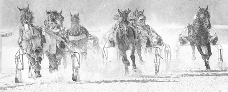 White Turf - Centenary Trotting - Pencil on Archival Paper