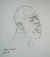 Original pencil drawing of a speaking man for larger images and further information click on this image.