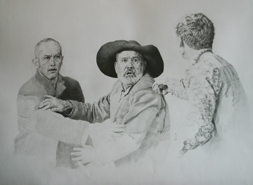 Original pencil drawing of two people being threatened at knife point, for larger images and further information click on this image.
