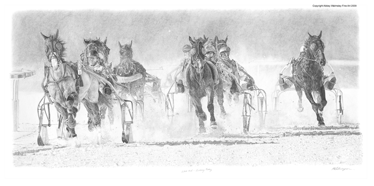 'White Turf - Centenary Trotting, original pencil on archival paper by Abbey Walmsley